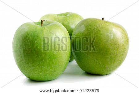 Three Green Apples On A White Background.