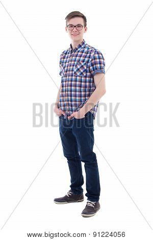 Full Length Portrait Of Handsome Teenage Boy Isolated On White