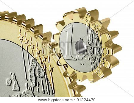 Euro Coin Gear Isolated On A White Background