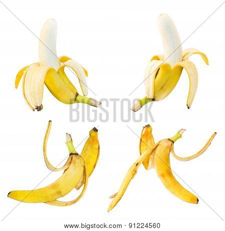 Bananas and peel leftovers isolated over white