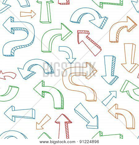 Sketchy colorful arrows and pointers on white seamless pattern, vector