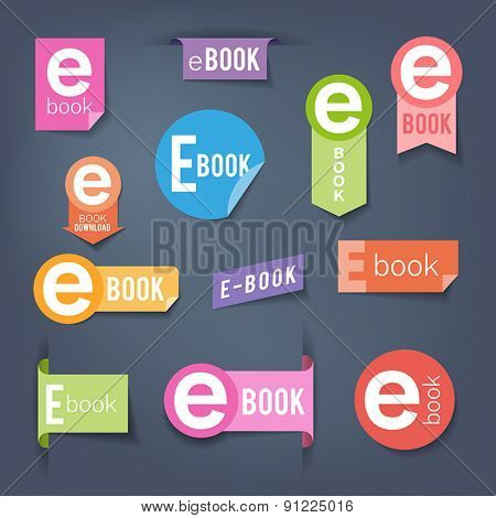 Collection of colorful stickers - labels symbolizing e-book downloading