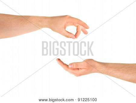 Begging for help hand gesture isolated