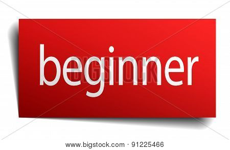 Beginner Red Paper Sign Isolated On White