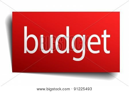 Budget Red Paper Sign Isolated On White