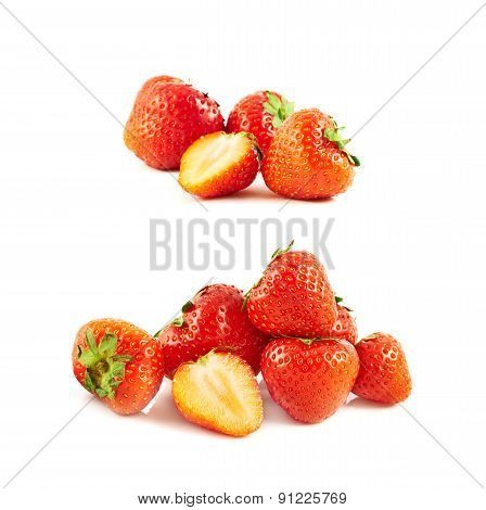 Pile of strawberries isolated