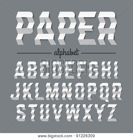 Paper alphabet with zigzag folded letters. Vector.