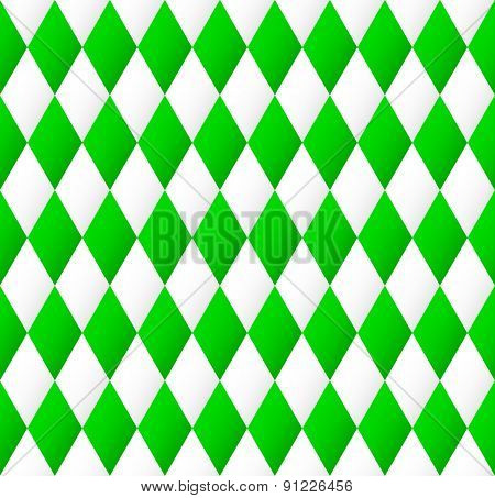 Seamless Diamond Pattern In Green And White