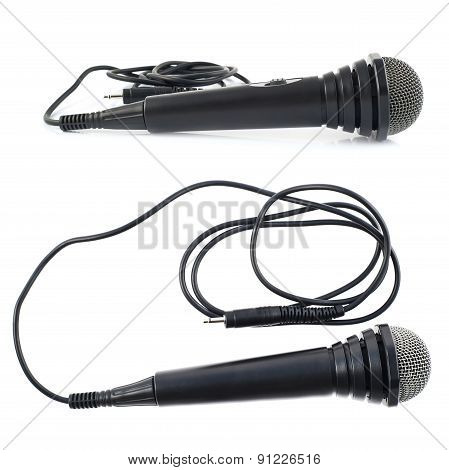 Black microphone isolated