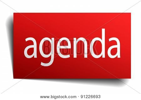 Agenda Red Paper Sign Isolated On White