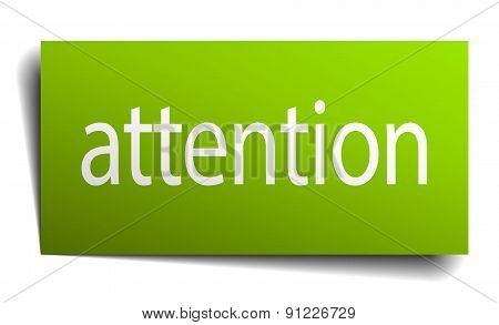 Attention Green Paper Sign On White Background