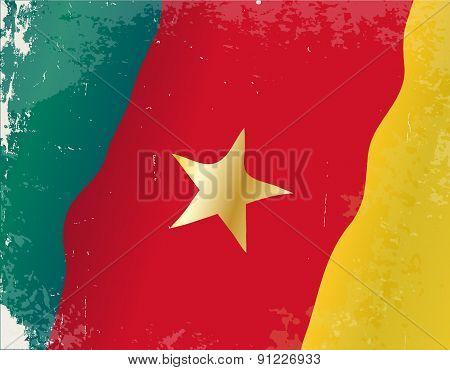 Cameroon Flag Grunge