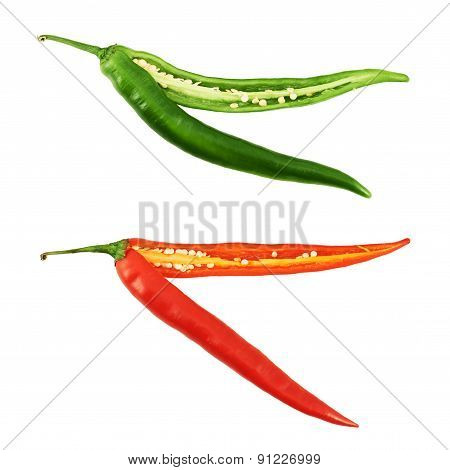 Cut in halves chili pepper isolated