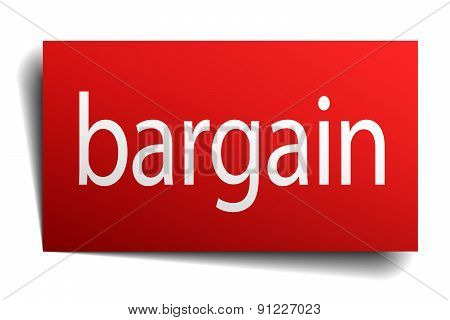 Bargain Red Paper Sign Isolated On White