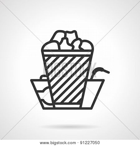 Cinema food black line vector icon