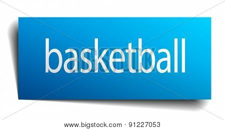 Basketball Blue Square Isolated Paper Sign On White