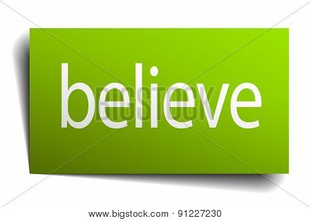 Believe Green Paper Sign On White Background