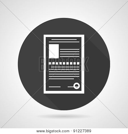 Paperwork black round vector icon