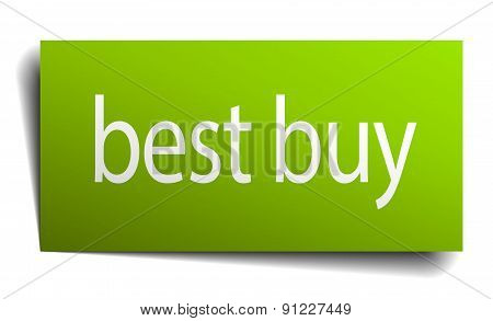 Best Buy Green Paper Sign On White Background