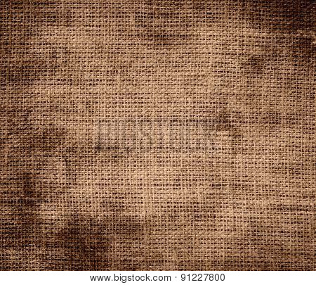 Grunge background of cafe au lait burlap texture