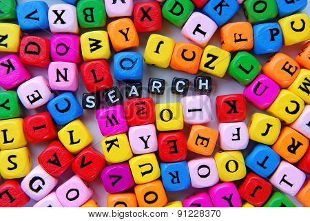 muticolor mixed letters and black word search