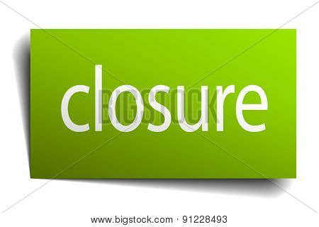 Closure Green Paper Sign On White Background