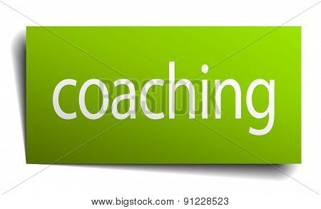 Coaching Green Paper Sign On White Background