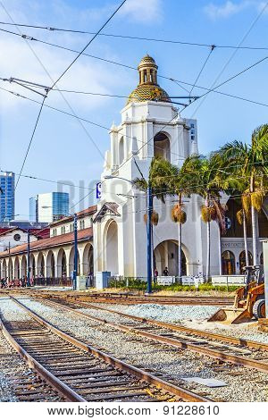 Train Arrives At Union Station In San Diego, Usa