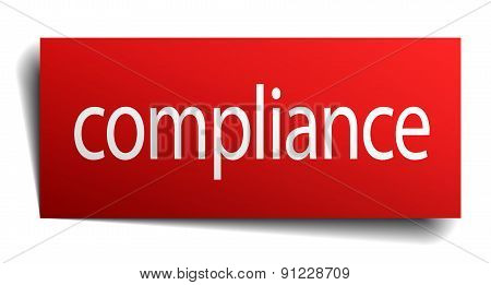 Compliance Red Paper Sign Isolated On White
