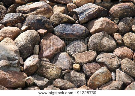 Rocks for waterfall in a garden.