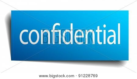 Confidential Blue Paper Sign Isolated On White