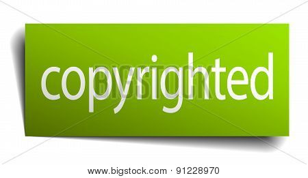 Copyrighted Green Paper Sign On White Background
