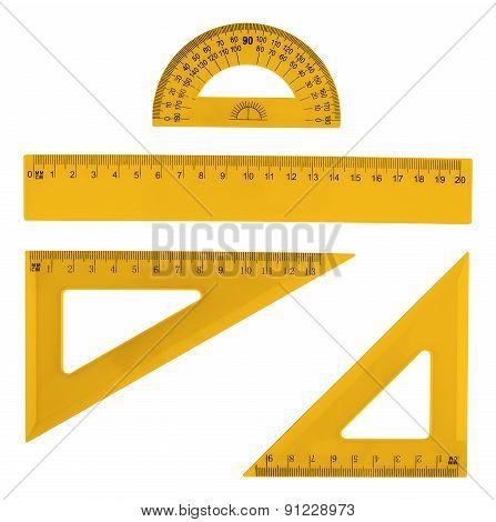Set of multiple plastic rulers