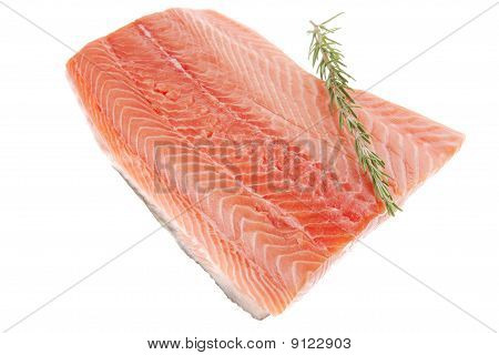 Raw Salmon Fillet And Rosemary