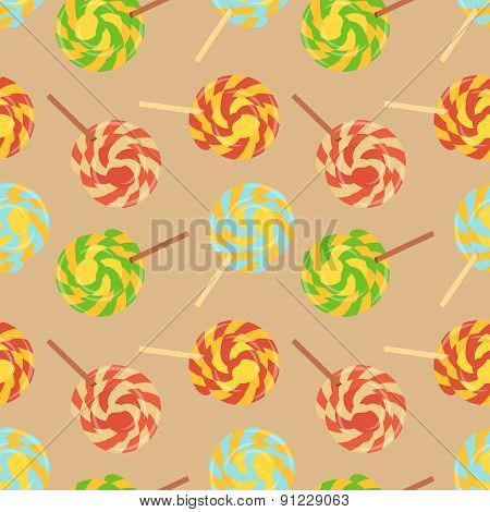 Lollipops flat seamless background