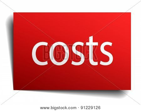 Costs Red Paper Sign Isolated On White