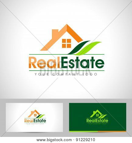 Real Estate Logo House with Green Leaf