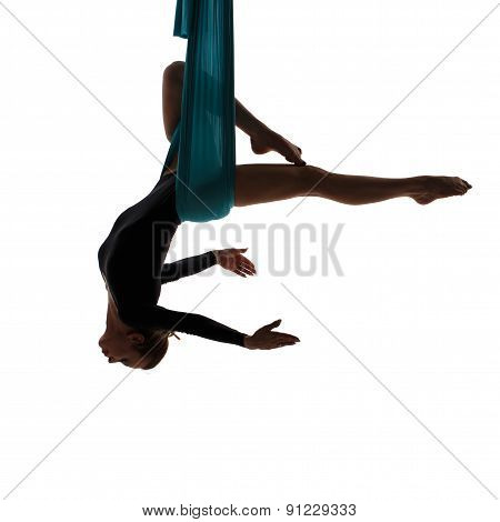 Aerial Performer Hanging In Butterfly Pose