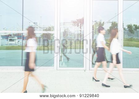 Perspective of the passage and people in motion blur