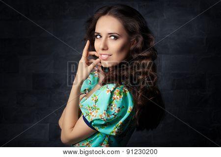 Beautiful Girl in Summer Floral Print Dress