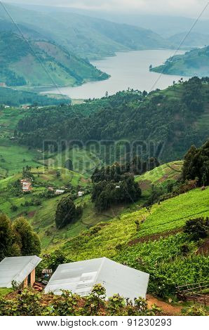 Lake Bunyonyi Viewed From Up High.
