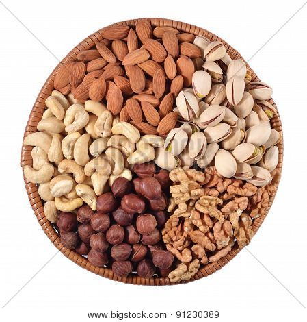Assorted Nuts In A Wicker Bowl