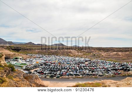 Old Junk Cars On Junkyard