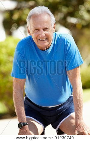 Elderly man out for a run