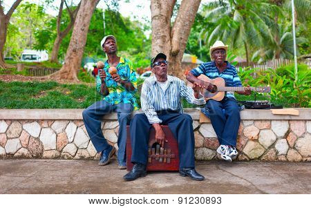 JAMAICA . A group of local musicians