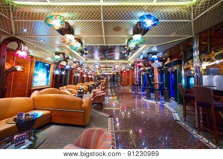 Cruise ship's main promenade deck