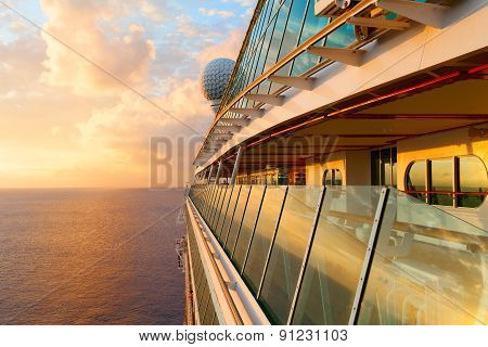 Sunset from the open deck of luxury cruise ship.
