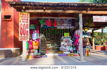 COZUMEL, MEXICO . Small colorful souvenir shop located on the pier