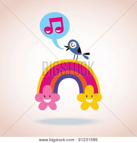 rainbow flowers and singing bird