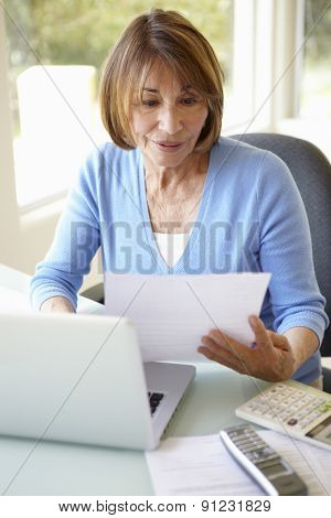 Senior Hispanic Woman Working In Home Office